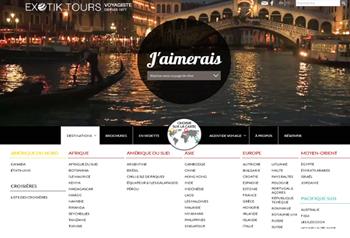 La page d'accueil du nouveau site Web d'Exotik Tours