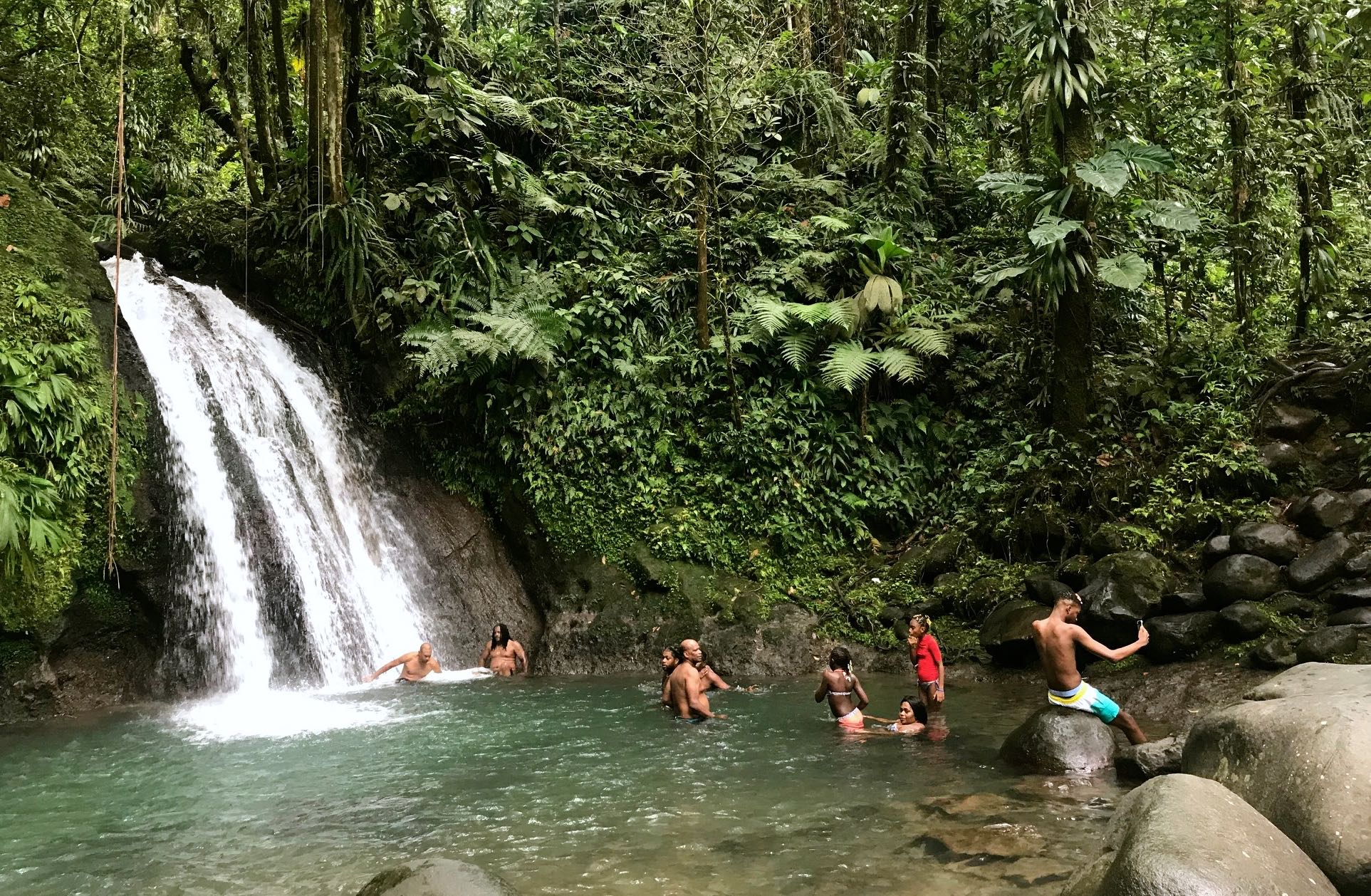 The Crayfish waterfall, in the Guadeloupe National Park, is very popular with locals and tourists alike.