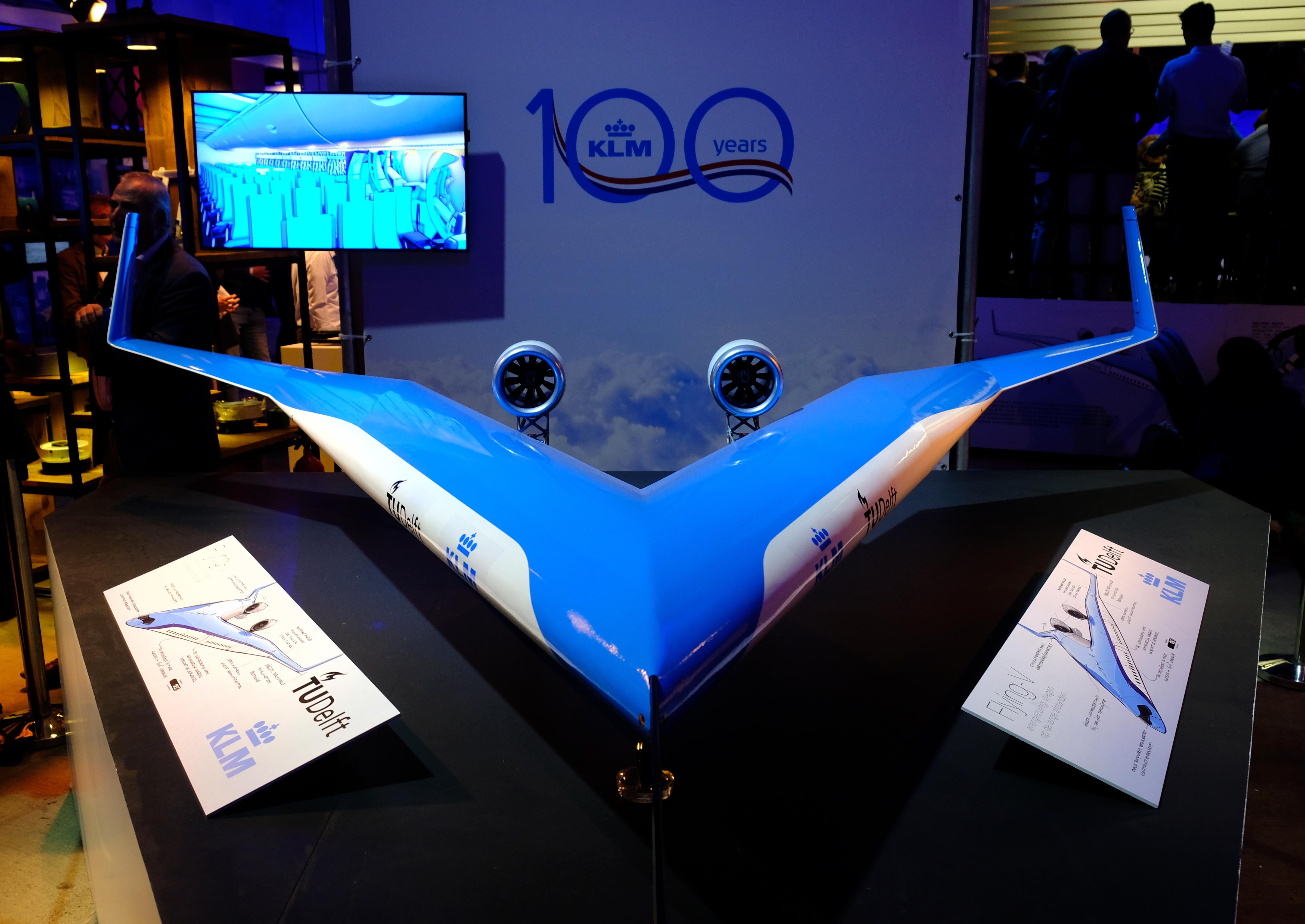 Un modèle du futur avion a été dévoilé à Amsterdam à l'occasion du 100e anniversaire de KLM en octobre 2019.