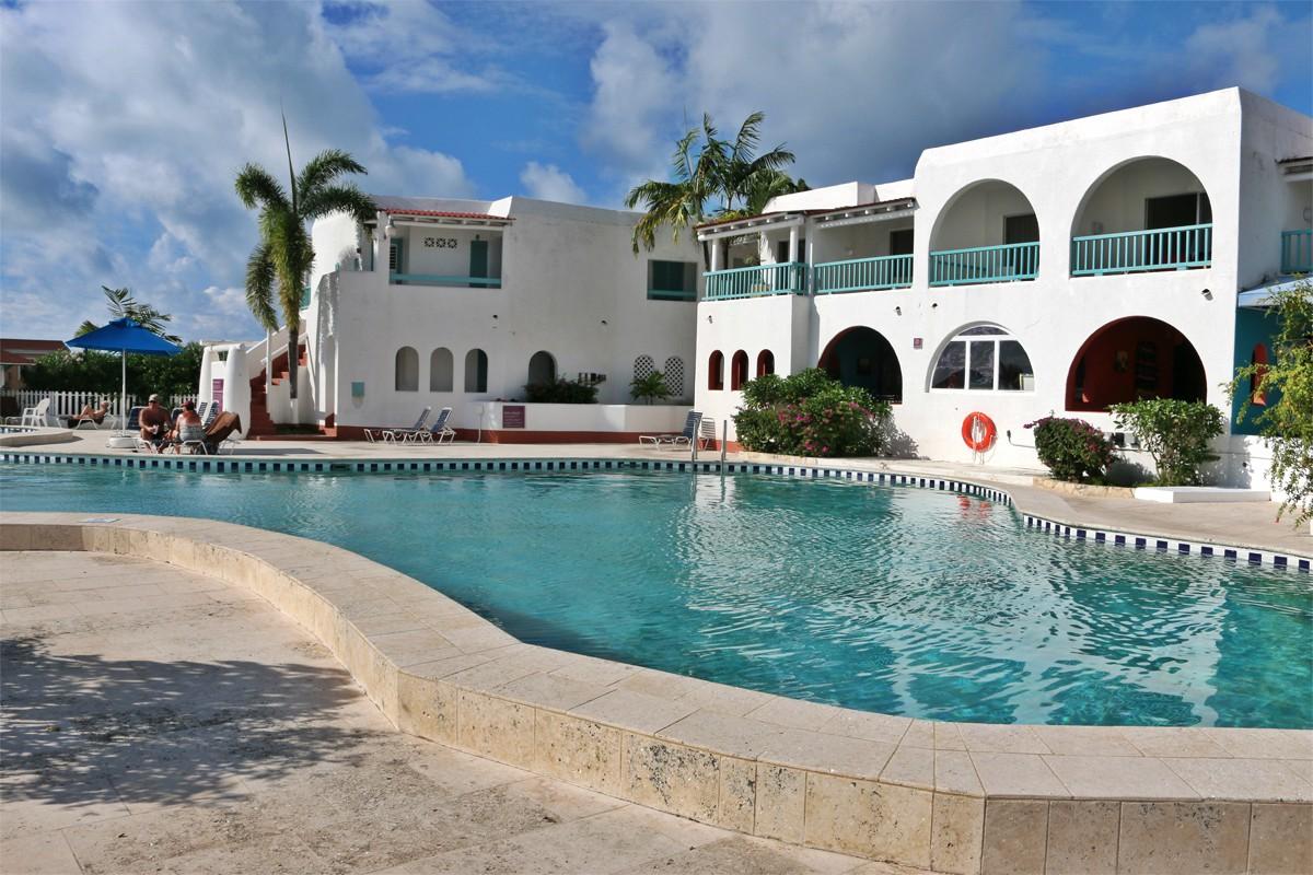 The main pool at Starfish Jolly Beach Resort and Spa.