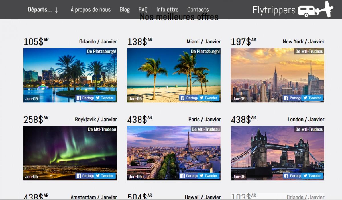 Paxnouvelles flytrippers un nouveau site qu b cois pour trouver des vols pas chers for Site pour trouver des hotels