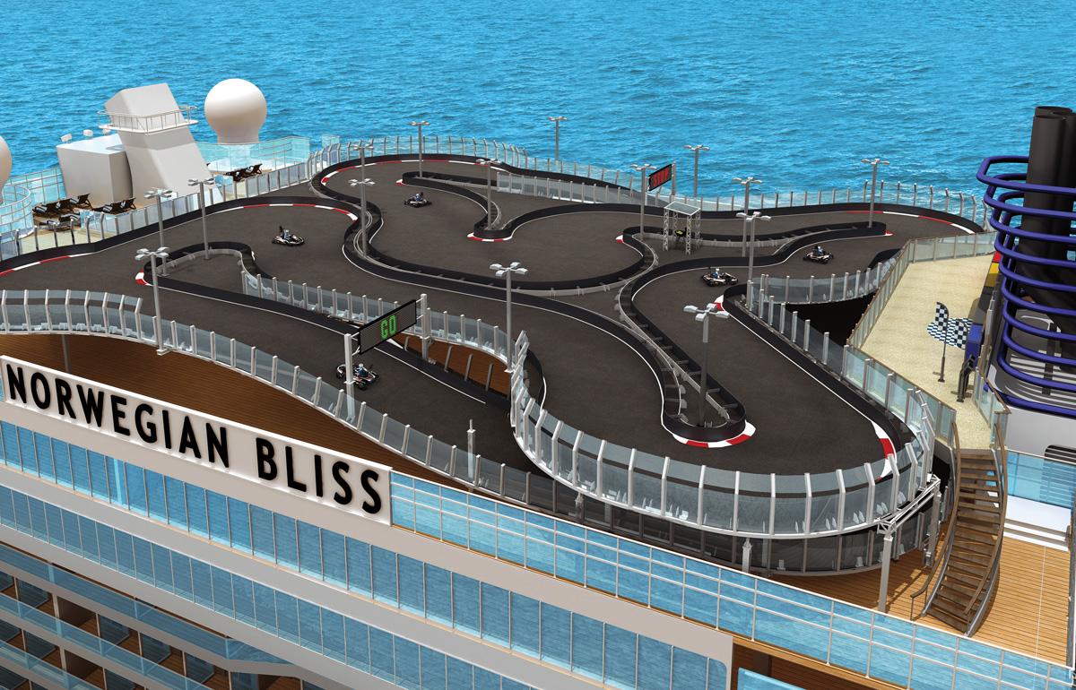 Le Norwegian Bliss aura une piste de course automobile!