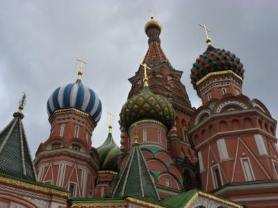 Moscou, toits de la cathédrale Basile le Bienheureux,