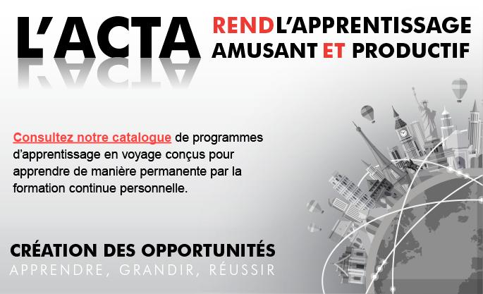 Trois nouveaux webinaires pour l'ACTA