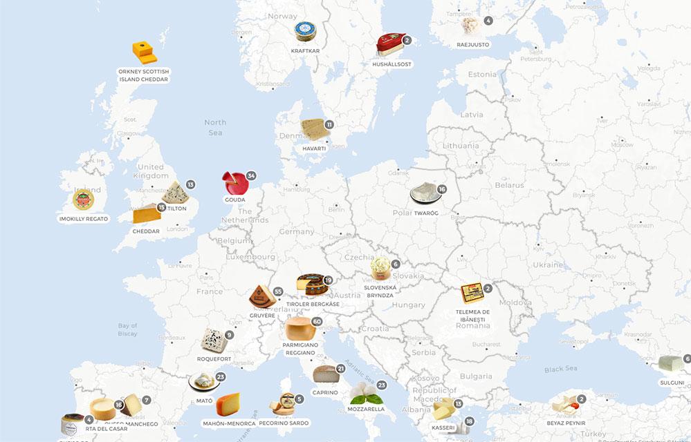 Cette carte illustre tous les fromages d'Europe