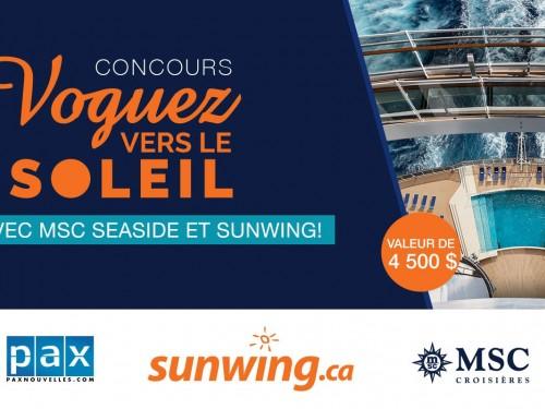 Concours voguez vers le soleil avec MSC Seaside et Sunwing: encore quelques jours!