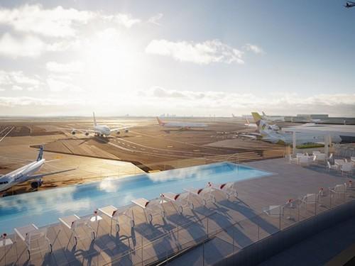Le seul hôtel de l'aéroport JFK dispose d'une superbe piscine sur le toit
