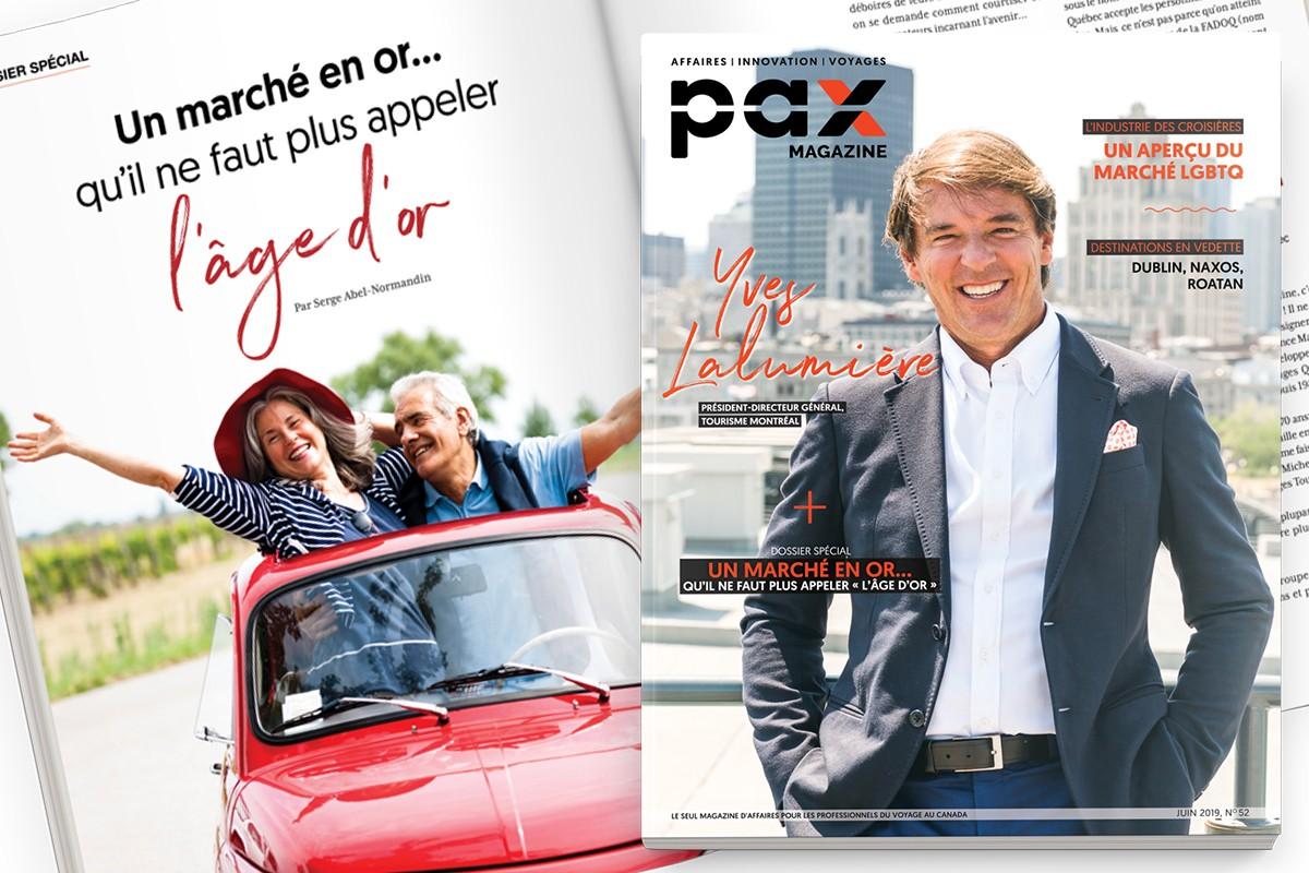 L'édition de juin 2019 de PAX magazine est maintenant disponible ; eX par Voyages Transat : décollage réussi pour l'agence de demain