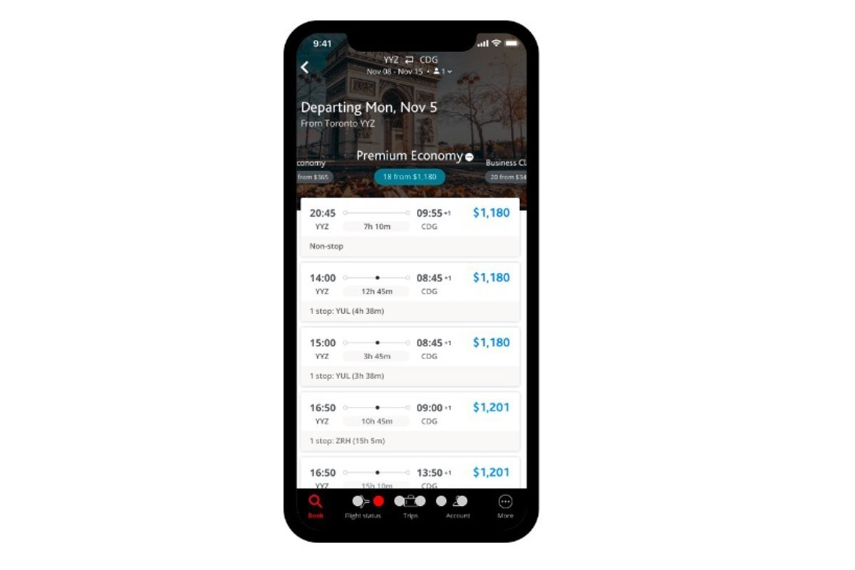 Air Canada lance une toute nouvelle application mobile