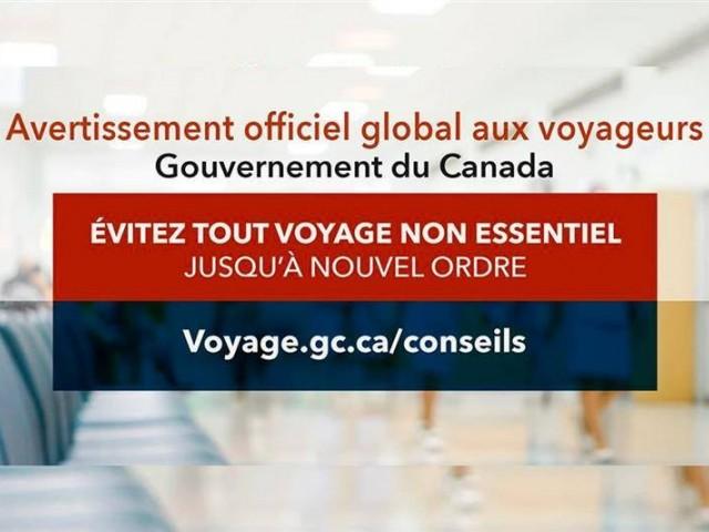 COVID-19 : Ottawa demande aux Canadiens d'annuler ou reporter tout voyage non essentiel à l'étranger