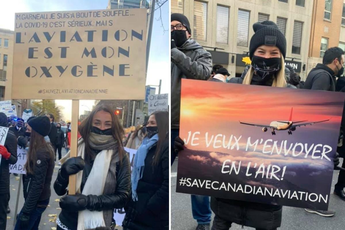 Les travailleurs de l'aviation manifestent à Montréal et Toronto