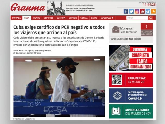 Cuba confirme l'exigence d'un test PCR négatif, mais à partir du 10 janvier