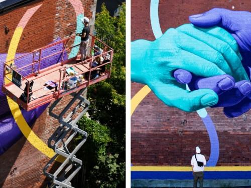 À Montréal, une murale urbaine célèbre le retour graduel du voyage provincial
