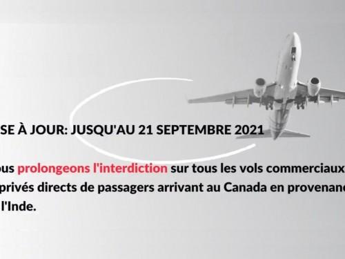 Les restrictions sur les vols directs en provenance de l'Inde prolongées jusqu'au 21 septembre