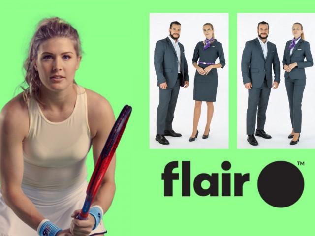 Flair fait équipe avec Eugénie Bouchard pour dévoiler son nouvel uniforme en plein ciel